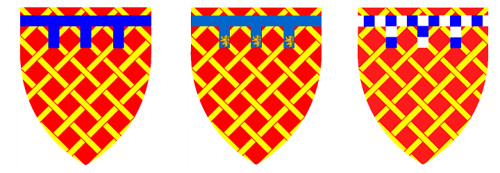The Audley Coat of arms, showing how different members of the family differentiated their arms from one another
